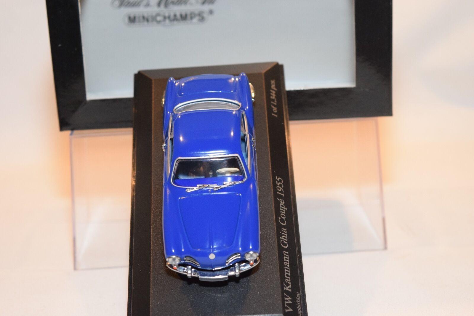 MINICHAMPS VW VW VW VOLKSWAGEN KARMANN GHIA COUPE 1955 SAPHIRblue blueE MINT BOXED. 9fdb6e