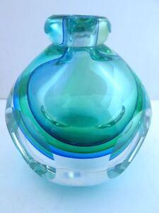 CRYSTAL PERFUME BOTTLE FIFTH AVE CRYSTAL BUD VASE CRYSTAL MURANO GREEN BLUE