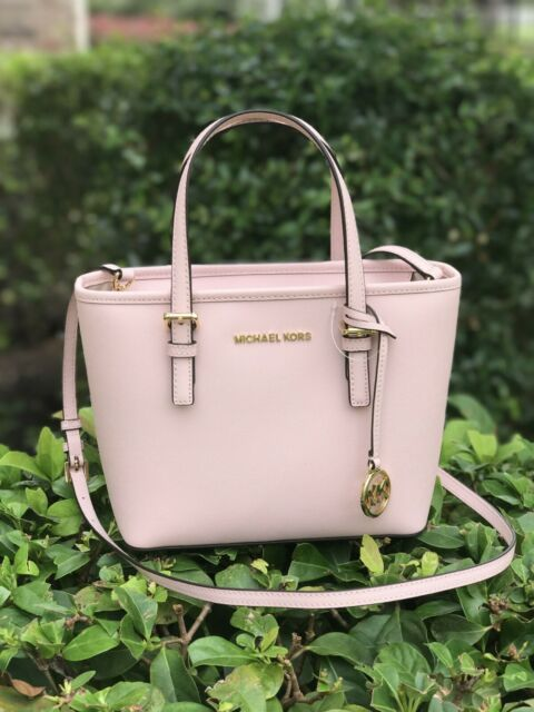 NWT Michael Kors Jet Set Travel XS Small Leather Tote Satchel Blossom (Pink)