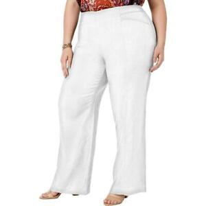 INC-Women-039-s-Plus-White-Linen-Work-Office-Wear-Wide-Leg-Pants-SIZES-16W-24W