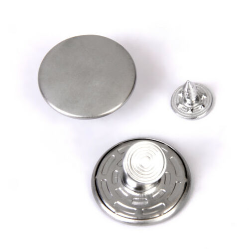 6 Sets No Sew Hammer On Denim Jeans Buttons DIY Stud Repair 20mm Silver
