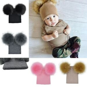fde3d2c1279 Infant Baby Winter Knitted Cap with Double Fur Pom Pom Cute Beanie ...