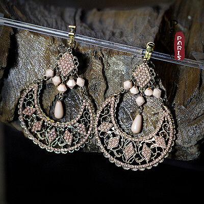 Boucles d/'Oreilles Clip Grosse Pendante Mini Perle Noir Argenté Soirée Cadeau E7