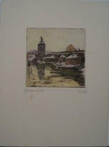Karl Fuchs (Stuttgart 1872 - 1968 Esslingen) - Pliensau - Farbradierung