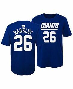 online store 70321 279d8 Details about Youth New York Giants Saquon Barkley Blue Name & Number  Jersey T-Shirt