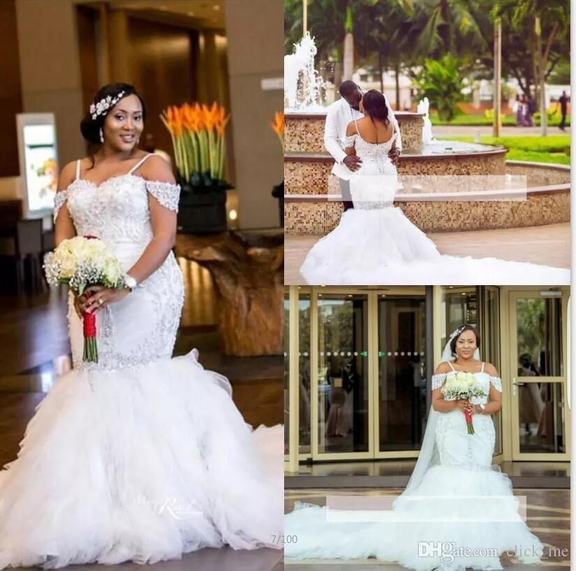 Plus Size Spaghetti Straps Lace Appliques Mermaid Wedding Dress Custom size