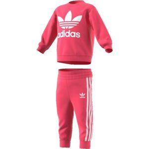 Tuta-Felpa-Adidas-Original-Baby-Girocollo-Polsino-3-striscie-Rosa-CE1157