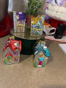 Vintage-4-Metallic-Mini-Christmas-DollHouse-Ornaments-Light-Covers-Beautiful-Lot