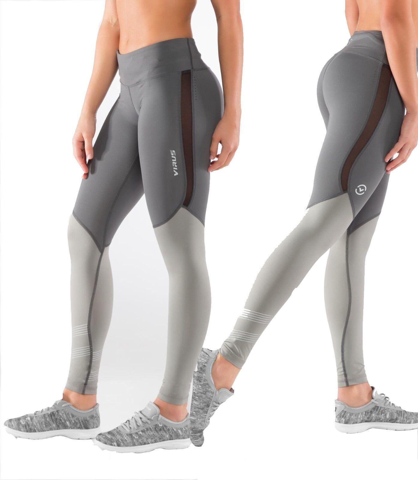 Virus Eco33 Donna Resti Fresco Tela Pantaloni,Crossfit,Pantaloni da Yoga Legging