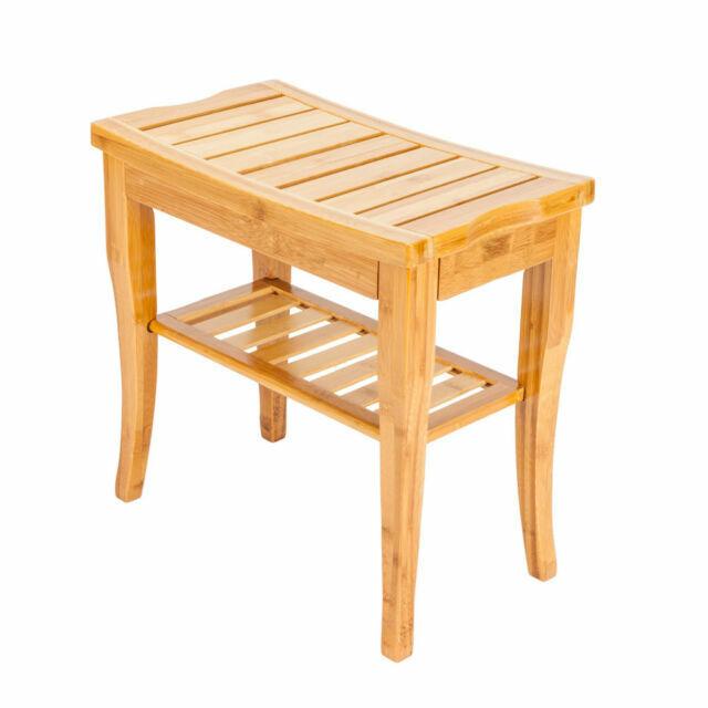 Bamboo Shower Seat Bench Bathroom Spa