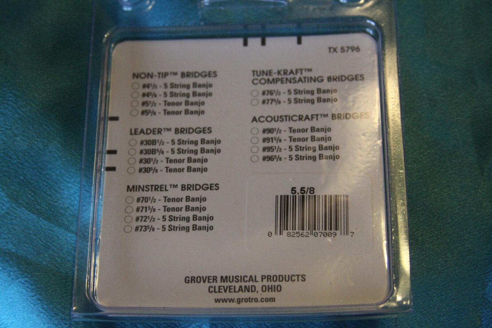 MPN 4.5//8 Height Grover Non-Tip 5 String Banjo Bridge 5//8 in