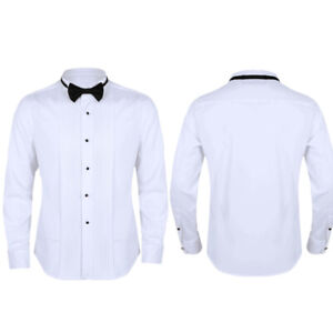 Men-Tuxedo-Shirt-Wingtip-Collar-Wedding-Prom-Formal-Bow-Tie-Dress-T-shirt-Slim