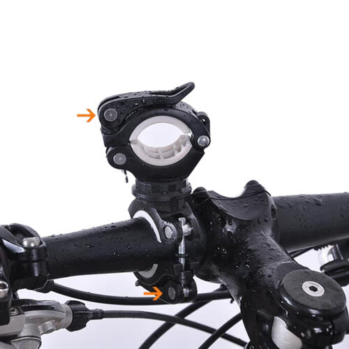 360° Cycle Bicycle Light Lamp Torch LED Flashlight Mount Bracket Holder Clip AAL
