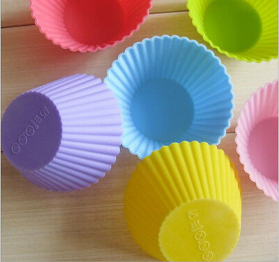 12 x NEW  Multi-color Silicone Cake muffin Cupcake Mold Round Shape Baking Mould