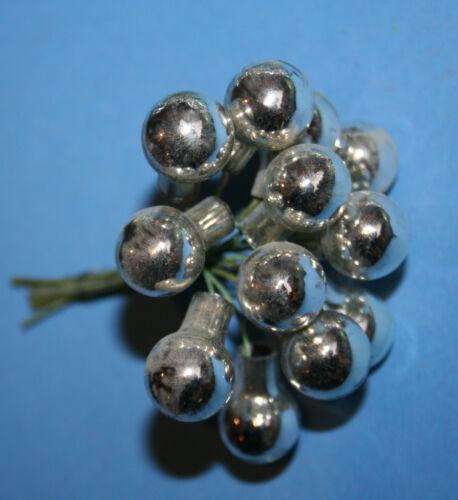 1 uralt Bund kleine versilberte Glaskugeln am Draht mundgeblasen Rarität selten