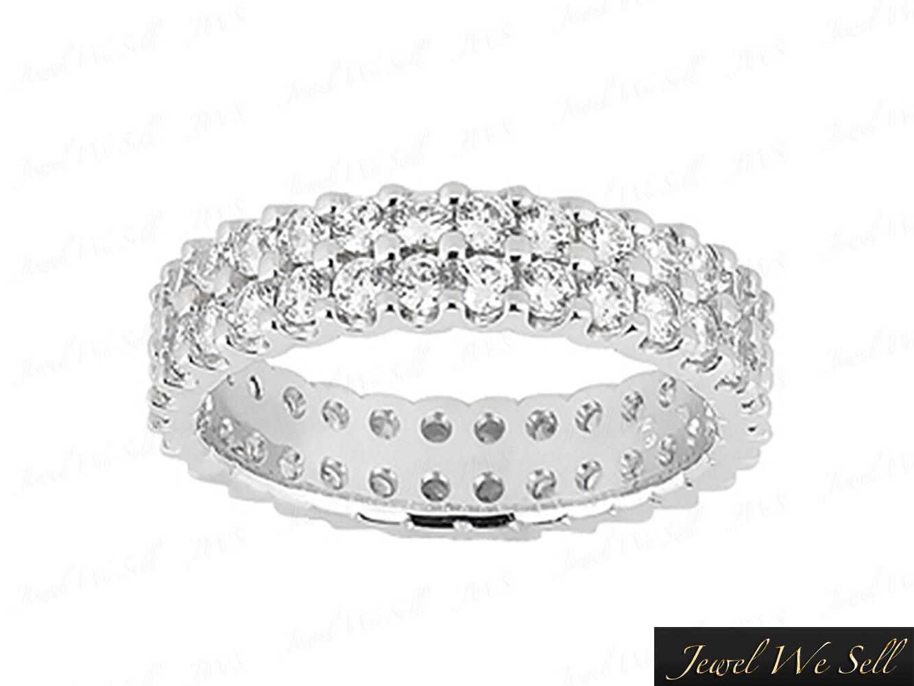 Natural 2.70Ct Round Diamond 2Row U-Prong Eternity Wedding Ring 10K gold G-H I1
