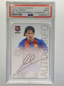 LIONEL-MESSI-2004-PANINI-SPORTS-MEGA-CRACKS-BARCA-ROOKIE-RC-89-PSA-9