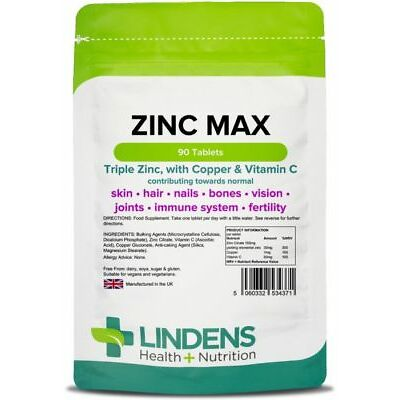 Zinc Max Tablets (90 pack) Triple Strength Zinc with Copper & Vitamin C Lindens