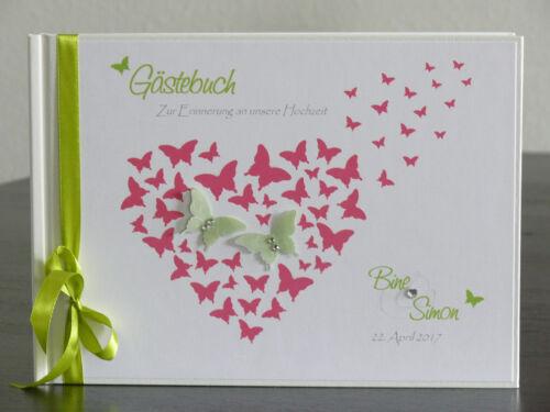 """Libro degli ospiti matrimonio /""""Butterflies in My Heart/"""" regalo GUEST BOOK WEDDING albicocca"""