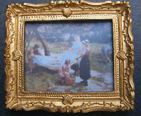 1:12 Framed Picture (print) Of Apple Pickers Dolls House Miniature Art Accessory