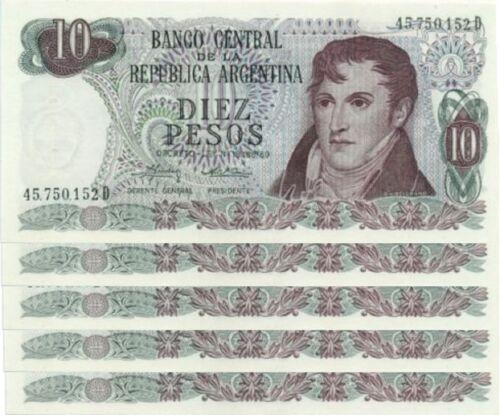 1974-1975 ARGENTINA 10 PESOS UNC 5 PCS LOT P.295 Sign MONDELLI-CAIROLI