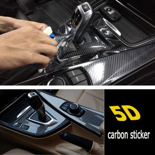 5D Car Interior Panel Black Carbon Fiber Vinyl Wrap DIY Sticker Exterior
