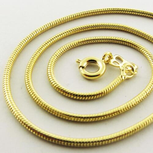 Necklace Chain Real 18k Yellow G//F Gold Ladies Pendant Fine Snake Link Design