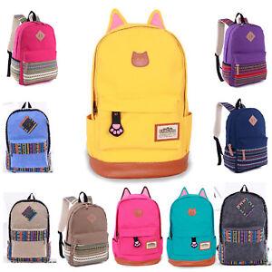 Women-Men-Canvas-Backpack-Shoulder-Book-School-Bag-Girls-Travel-Rucksack-Satchel