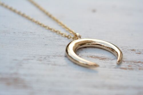 """Double Horn Necklace Pendant Crescent Moon Gold Trend Hot Style 17/"""""""