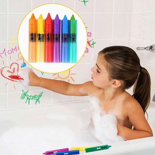 6 PCS BABY KIDS SAFETY WASHABLE BATH CRAYONS BATHTIME FUN EDUCATIONAL SMART