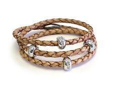 Silver Good Karma Triple Wrap Camel Leather Bracelet
