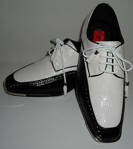Expressions 6544 Mens White Amp Black Dress Shoes Shiny