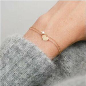 Women-039-s-girls-2pc-gold-heart-diamonte-link-charm-bracelet-ankle-anklet-new-UK