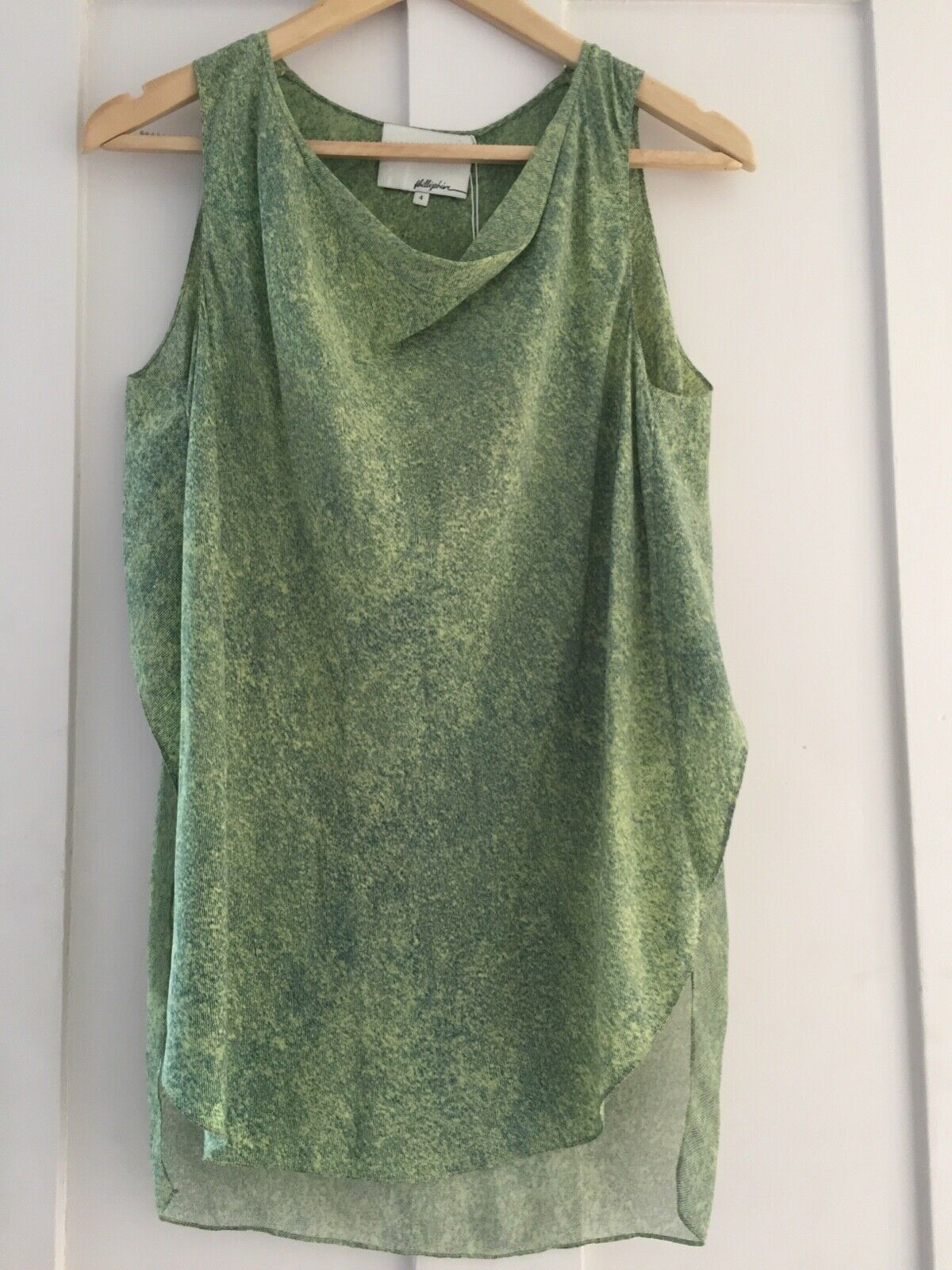PHILIP LIM damen'S NEW Grün SILK TOP Größe 4