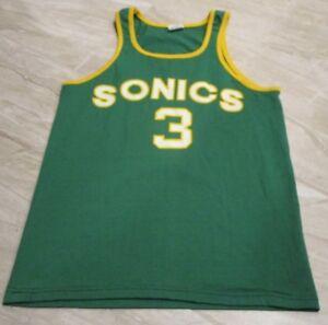 RARE VTG Seattle Sonics Sand Knit Dale Ellis AUTOGRAPHED Jersey Shirt sz Medium