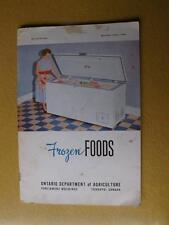 FROZEN FOODS BOOK ONTARIO DEPARTMENT OF AGRICULTURE 1955 TORONTO CANADA