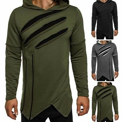 Stylish Men's Long Sleeve Ripped Sweatshirt Hooded Tops Pullover Hoodies Jacket