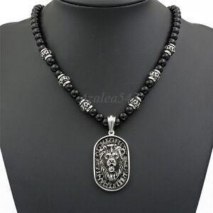 8mm-Black-Onyx-Beads-Men-Silver-Lion-Shield-Pendant-Stainless-Steel-Necklace-Set