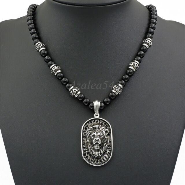 8mm black onyx beads men silver lion shield pendant stainless steel 8mm black onyx beads men silver lion shield pendant stainless steel necklace set aloadofball Choice Image