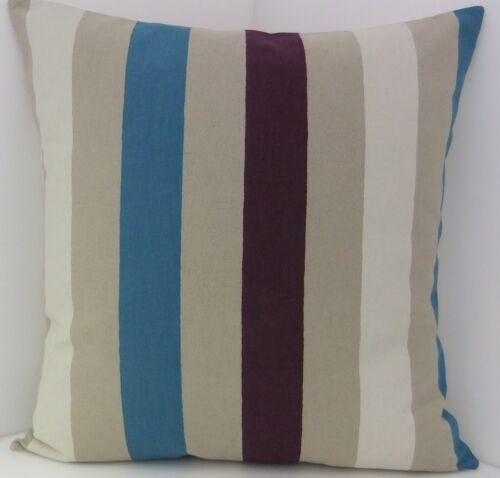 CUSHION COVERS TEAL PURPLE BEIGE WHITE THICK STRIPED CUSHION SCATTER COVERS