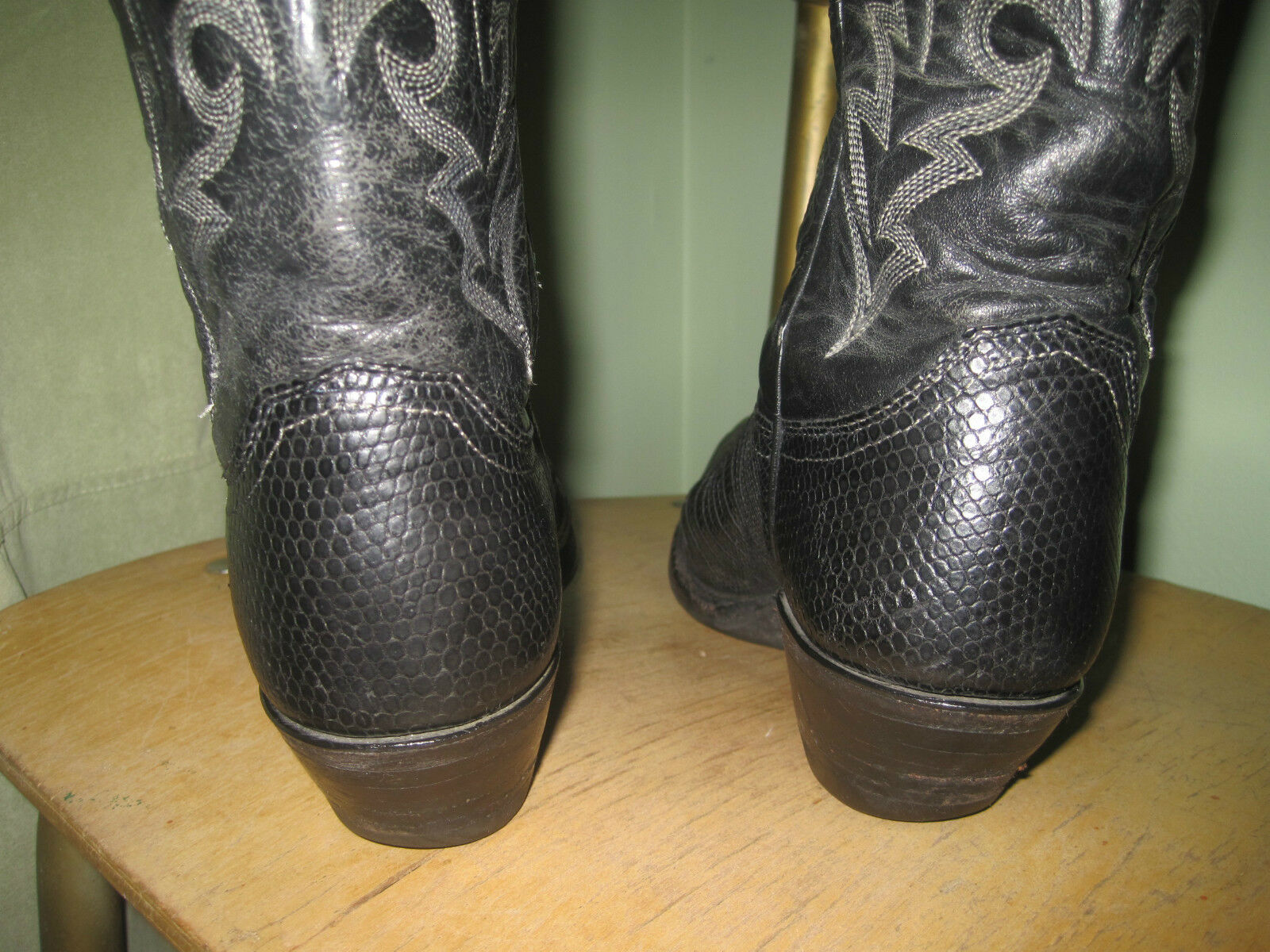 Western Cowboy Boots Justin Black Exotic Exotic Exotic Iguana Reptile Leather Woman 4.5 B 21a641