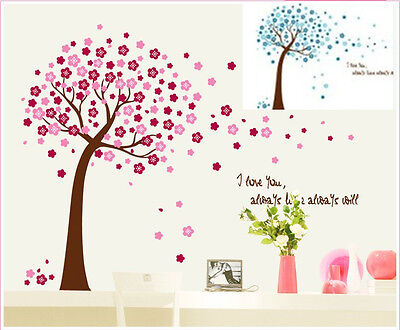 Pink Plum Blossom Flower Tree Vinyl Art Nursery Kids Baby Wall Sticker Decor