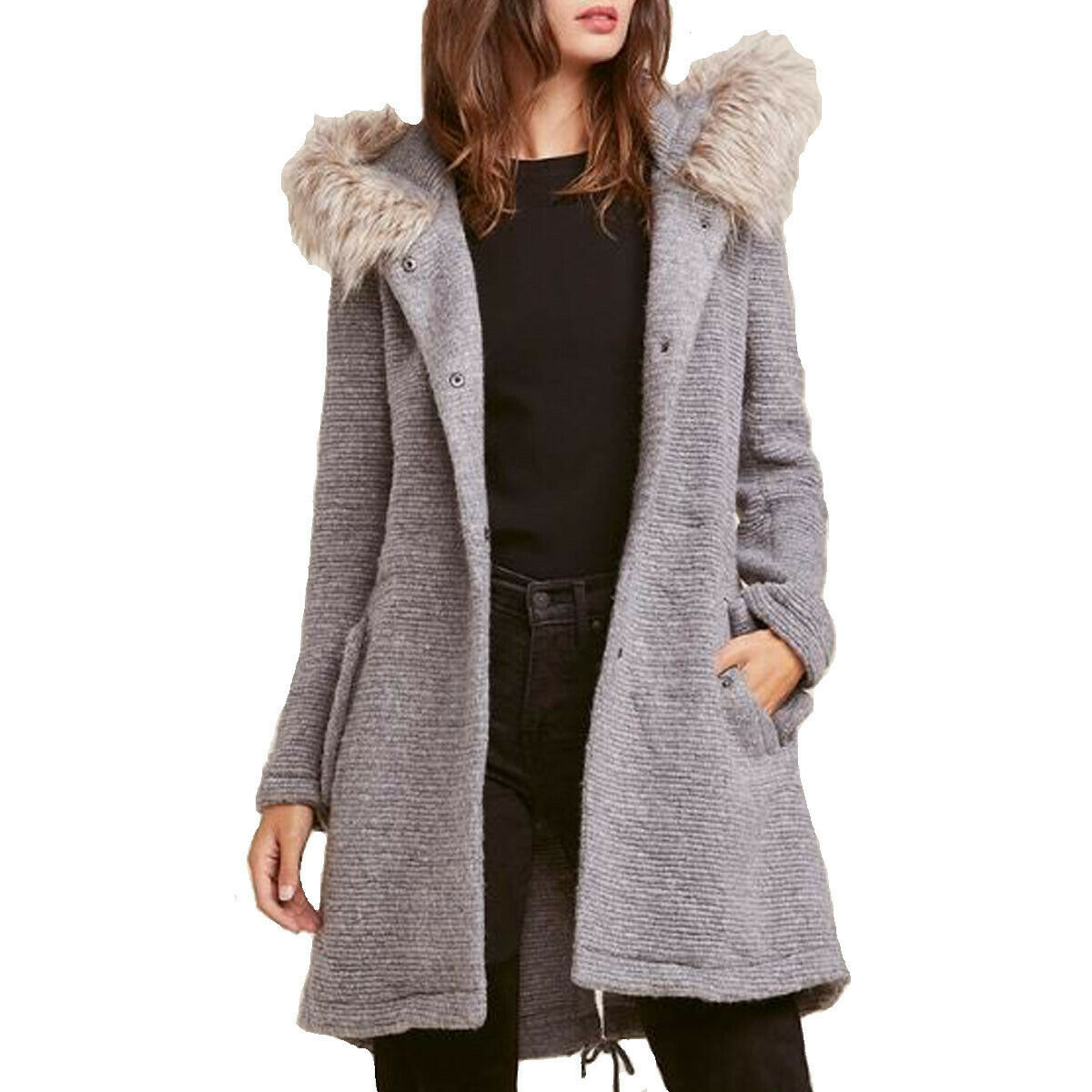 Women's BB Dakota Girls N the Hood Faux Fur Trim Ribbed Coat H Grey Orig.  L