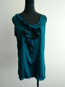 Diane-von-furstenberg-Teal-Green-Silk-Blend-Ruffle-Blouse-Top-Sleeveless-S-AU-8