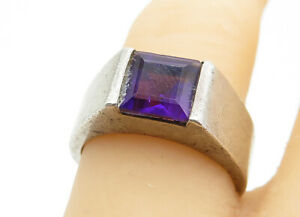 925-Sterling-Silver-Vintage-Square-Cut-Amethyst-Smooth-Band-Ring-Sz-7-R11578