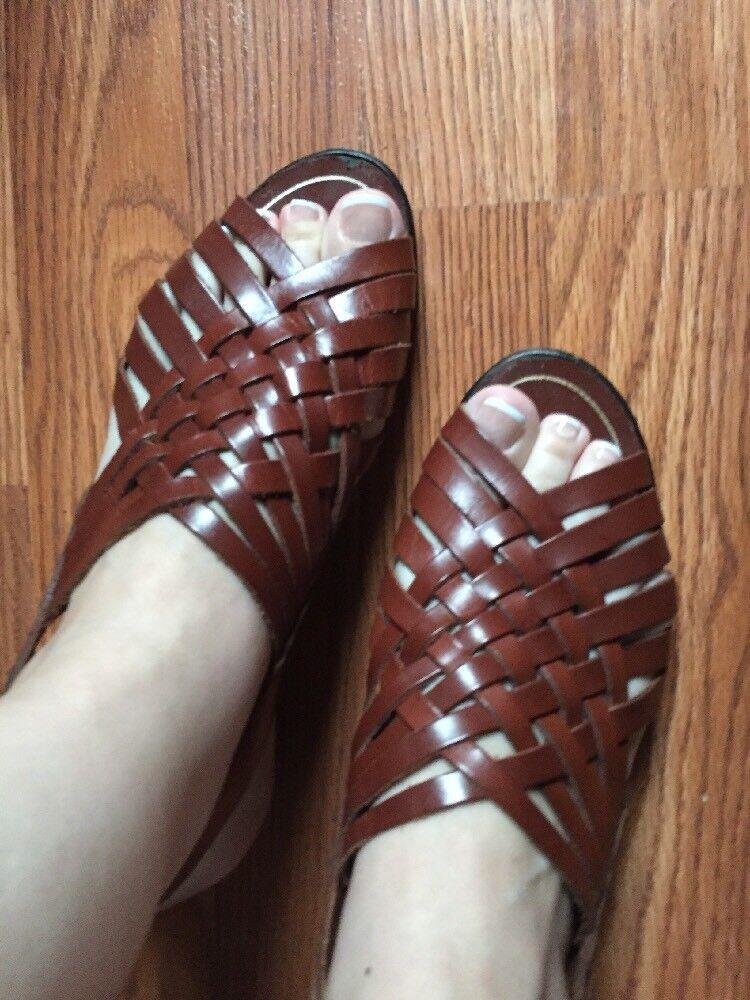 Donna's ITALIAN Momento Moda Leather Sandals Made In  Dimensione 7.5 (EU 38)