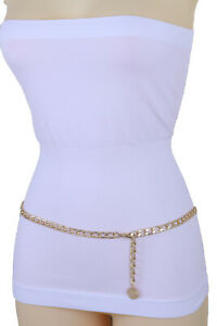 Women-Gold-Metal-Chain-High-Waist-Hip-Belt-Coin-Charm-Comfortable-Strap-XS-S-M