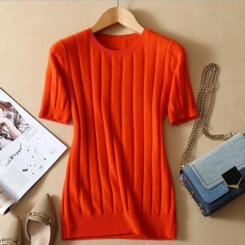 2019 Spring Summer New Fashion Women/'s Short Sleeve Crew Neck Cashmere Sweater