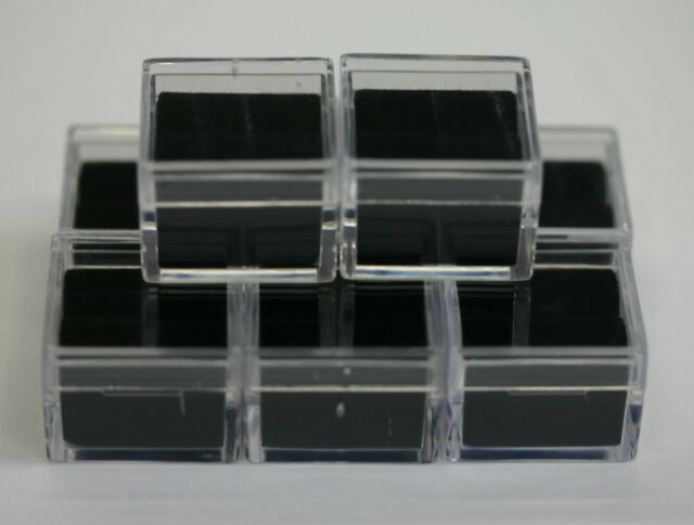 "25pcs Acrylic Square Gem Jars Box Gemstones Black Foam 1/"" x 1/"" Storage Display"