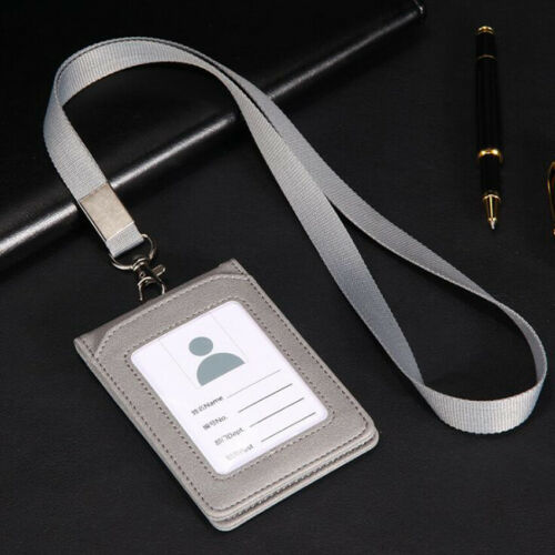 Muticolor PU Leather ID Badge Card Holder Credit Case Slim Reel Work Name Case